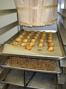 gougeres and falcon muesli on the ready