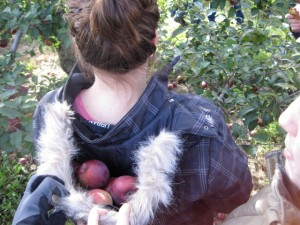 Carrie with a new way to 'carry' apples